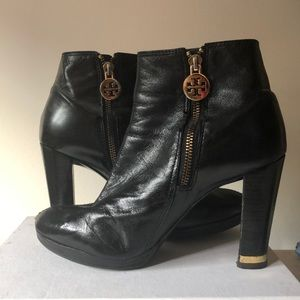 Tory Burch Booties, Sz. 8M, Black Leather